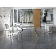Metropolis 2407 - Tavolo design rettangolare in metallo con piano vetro 180x90 cm