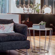 Amburgo 6285 - Tavolino rotondo Tonin Casa in metallo, piano in vetro diametro 55 cm, diversi colori disponibili