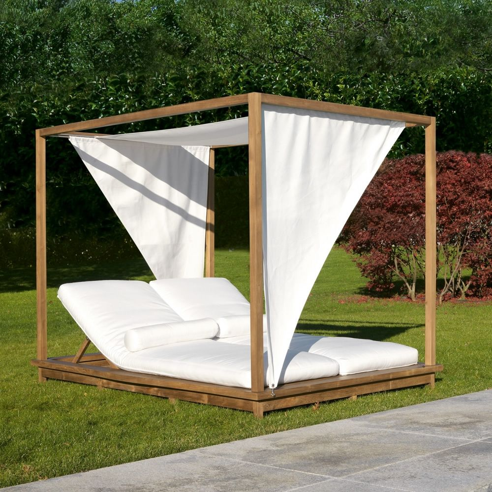exit garden double sunbed by colico with canopy and reclining sun loungers in. Black Bedroom Furniture Sets. Home Design Ideas