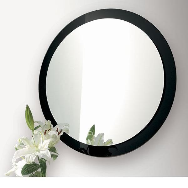 Line espejo redondo con marco de vidrio de colores for Espejo redondo con marco