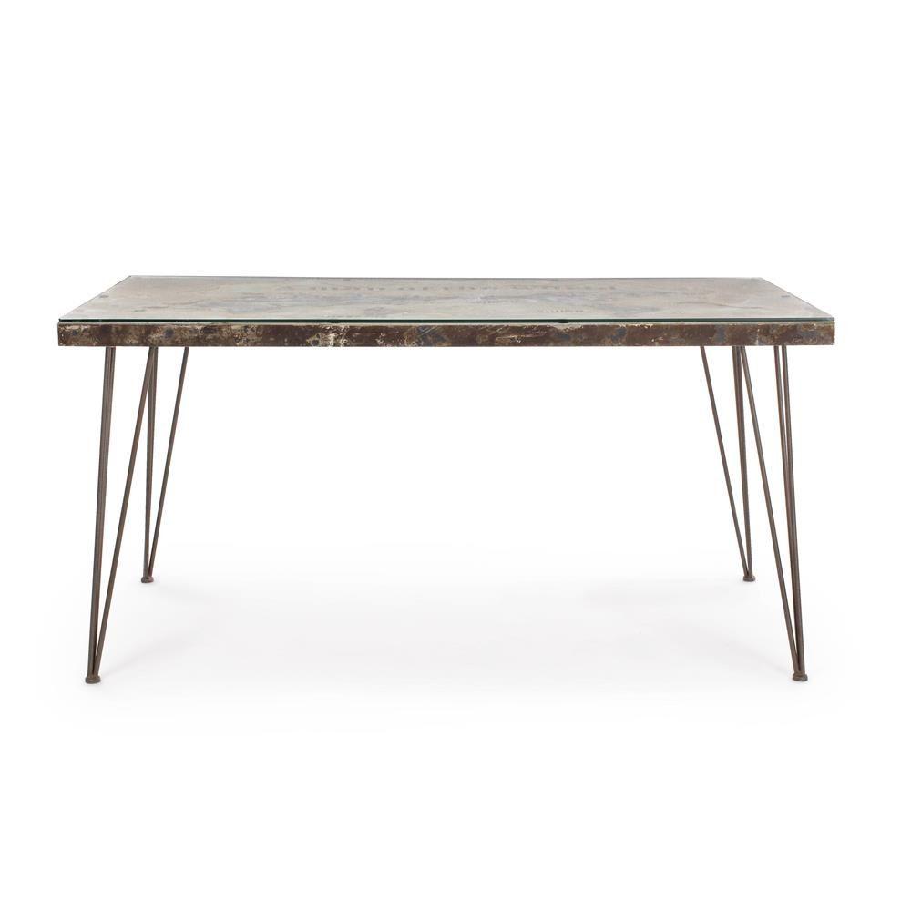 Lagos t tavolo urban style in metallo con piano in mdf con decorazione in cemento e - Tavolo con piano in vetro ...