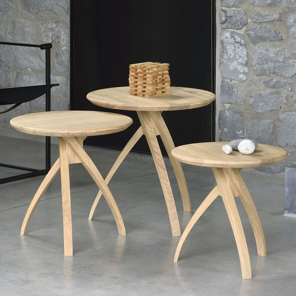 Standard Size Of Round Coffee Table: Twist: Ethnicraft Round Wooden Side Table, Different Sizes