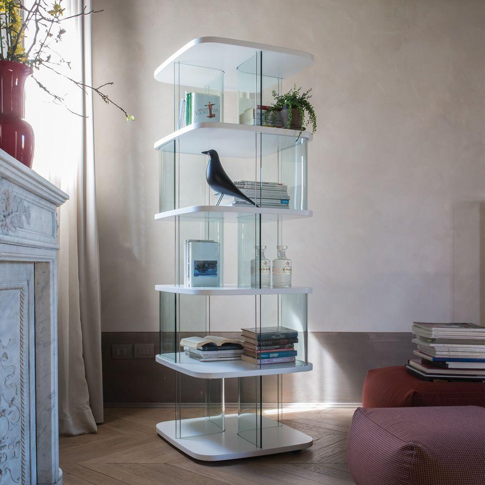 Fenice 6475a libreria tonin casa in vetro e mdf diverse for Libreria acciaio e vetro