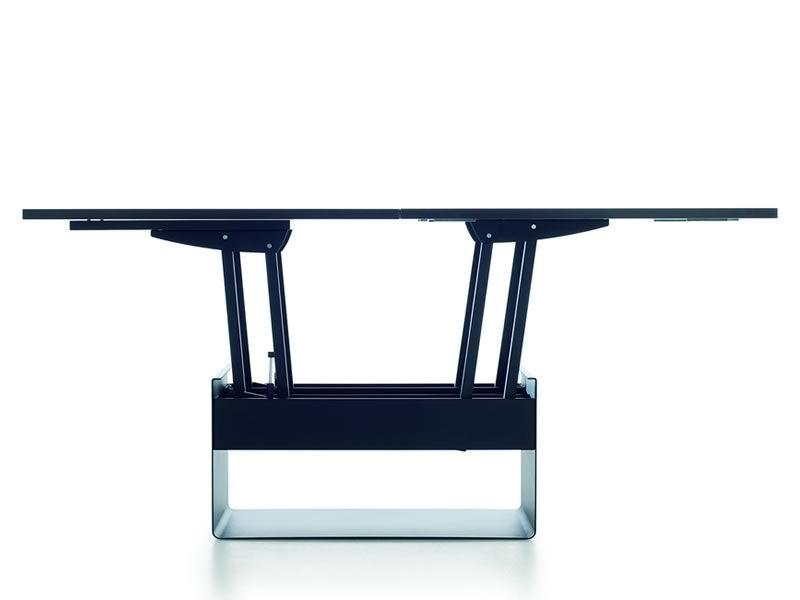 orfeo in esstisch verwandelbarer tisch mit untergestell aus metall und holzplatte 80 160x80. Black Bedroom Furniture Sets. Home Design Ideas