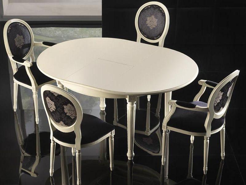 Vst157 tavolo classico in legno piano tondo diametro for Tavolo classico e sedie moderne
