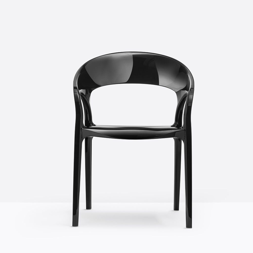 Gossip 620 silla pedrali de dise o con reposabrazos de for Sillas cocina transparentes
