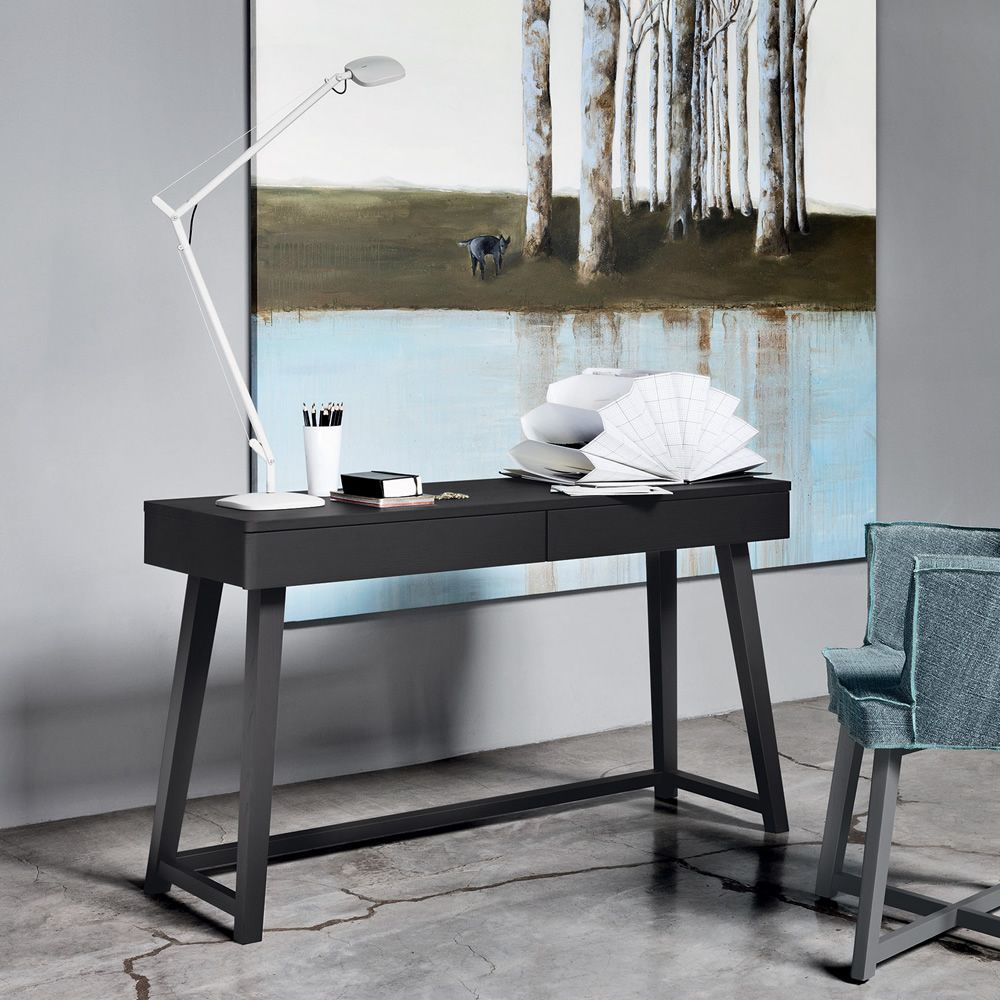 Gray 50 Writing Desk In Black Lacquered Wood