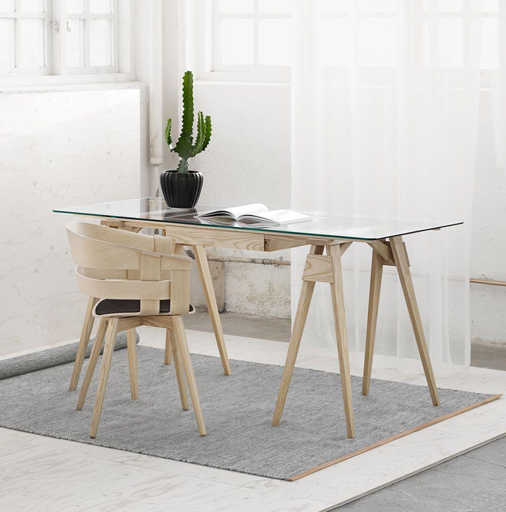 Arco escritorio de madera sobre de cristal 150 x 75 cms for Sillas de madera para escritorio