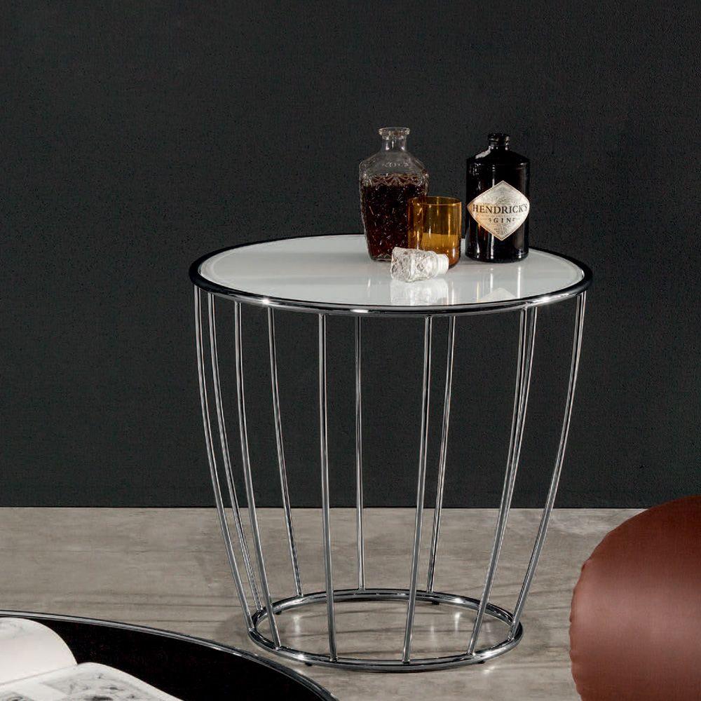 Tonin Casa Round Metal Coffee Table, Glass