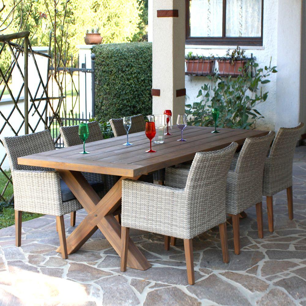 E91 tavolo in teak piano rettangolare 220x100 cm anche - Tavoli per esterno ...