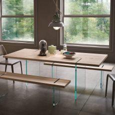 Agazia T - Tavolo fisso di design, 160x90 cm, con gambe in vetro, piano in diversi materiali e finiture