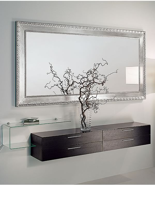 Composizione mobile da ingresso con specchio, mobile, mensola in vetro