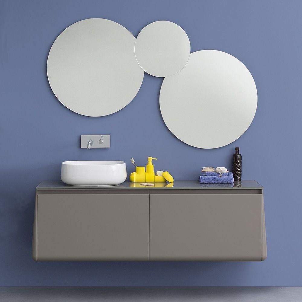 Acqua c composizione di specchi rotondi disponibile anche con luce led sediarreda - Specchio bagno rotondo ...