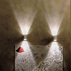 Laser Cube - Lampada a parete di design, in metallo, con luce LED, disponibile in diversi colori e dimensioni