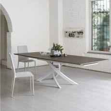 Artistico Wood Ext - Table design de Bontempi Casa, à rallonges 160(240)x90 cm, comportant un piétement central en métal et un plateau en bois, disponible en différentes couleurs