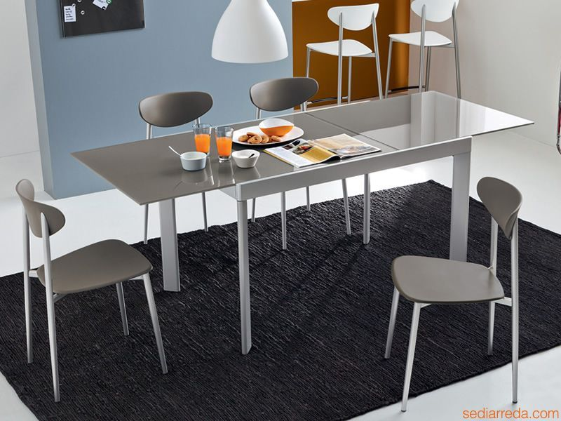 Cb4731 plano tavolo allungabile connubia calligaris in for Tavolo calligaris vetro temperato