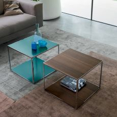 Pitagora - Dall'Agnese square coffee table made of metal and veneered wood, different colours available