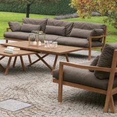Exit Sofa - Divano Colico per giardino, 2 o 3 posti, in teak riciclato, con seduta imbottita e rivestita, disponibile in diversi colori