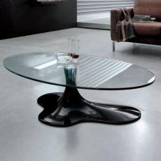 Sogn 6607 - Tavolino Tonin Casa in agglomerato di marmo, con piano in vetro, diversi colori disponibili