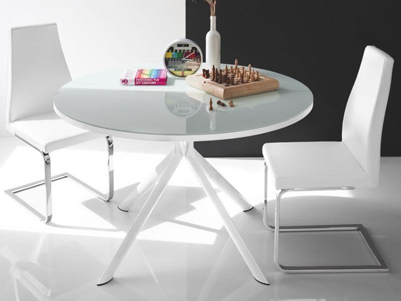 verl ngerbarer runder tisch mit glasplatte durchmesser 120cm 738 sediarreda. Black Bedroom Furniture Sets. Home Design Ideas