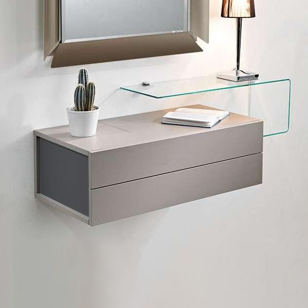 Due mobile ingresso con 2 cassetti specchio e mensola in vetro - Specchio con mensola per ingresso ...
