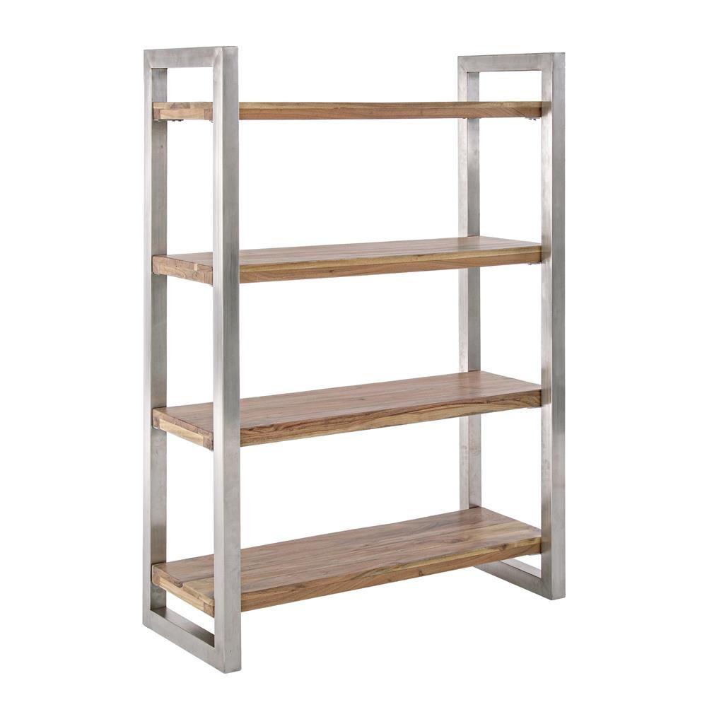 Timboct shelf tag re ou biblioth que en m tal avec for Tablette bois acacia