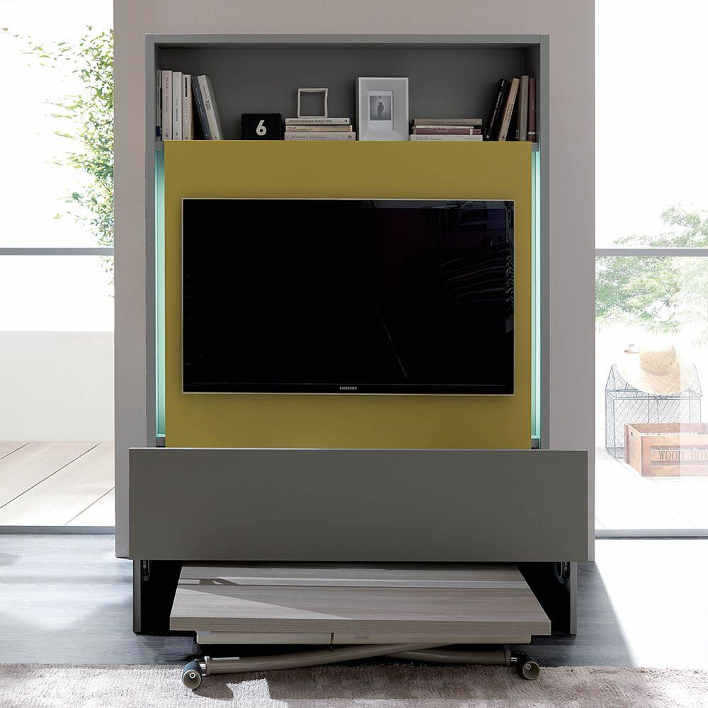 Smart living mueble para sal n en madera con por tv - Mueble salon gris ...