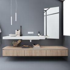 45 - Meuble de salle de bains comportant 1 plan de toilette avec vasque intégrée en Korakril™, 3 tiroirs, disponible en différentes couleurs