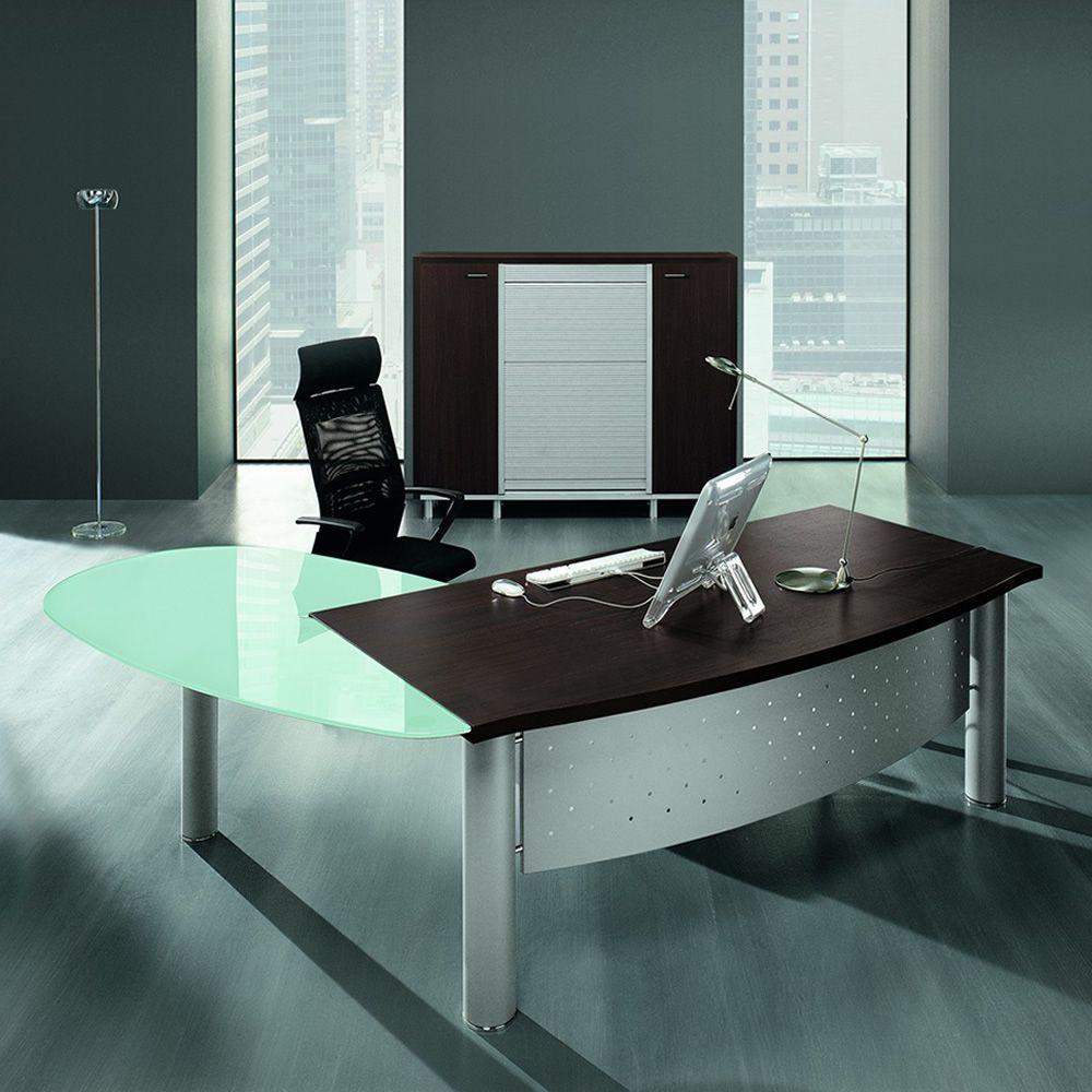x time work 01 bureau professionnel avec retour secr taire en m tal et plateau en verre et. Black Bedroom Furniture Sets. Home Design Ideas
