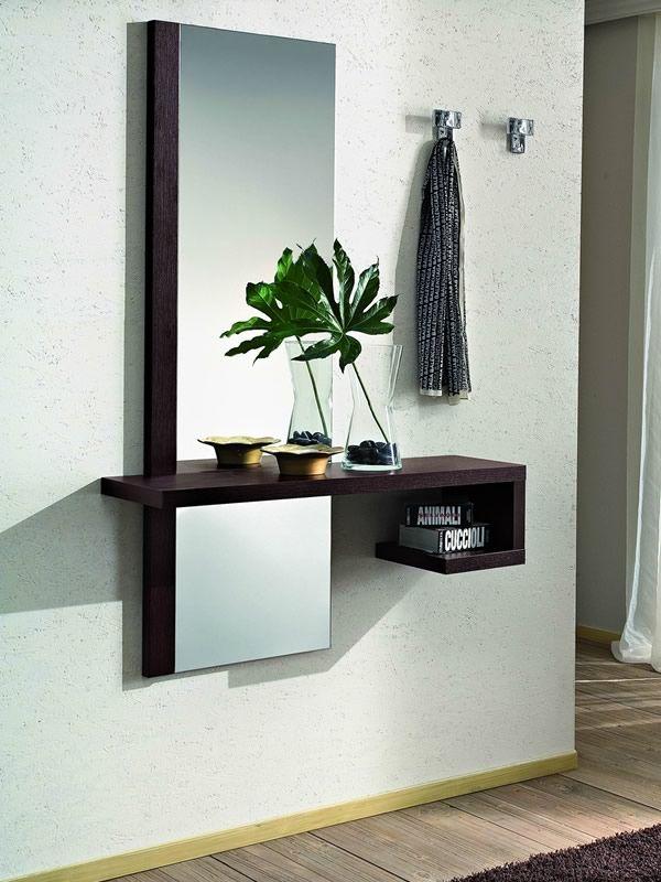 pa252 mobile ingresso moderno con specchio e appendini diversi colori sediarreda
