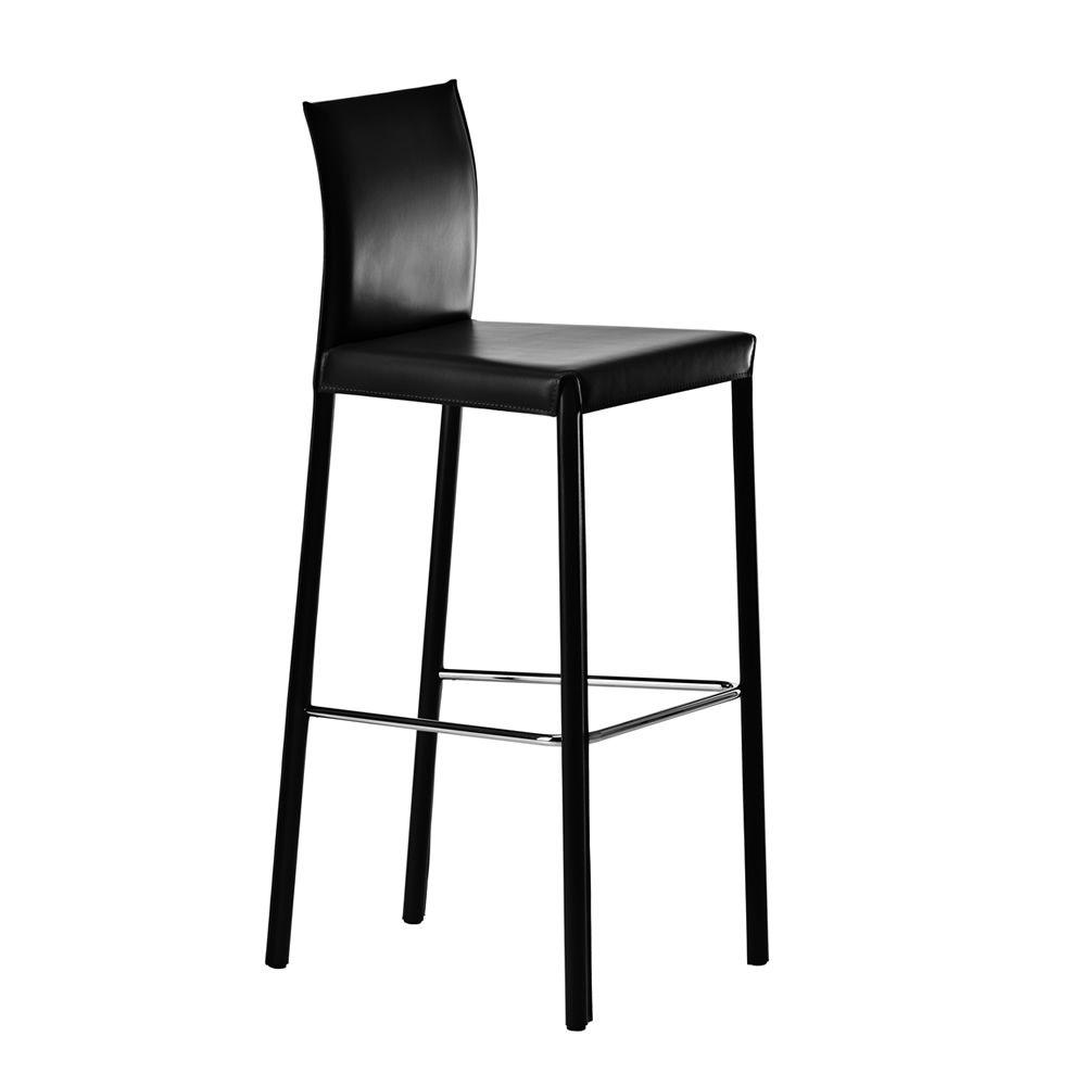 Flona - Sgabello fisso Midj in rigenerato di cuoio nero, altezza seduta 66 cm...