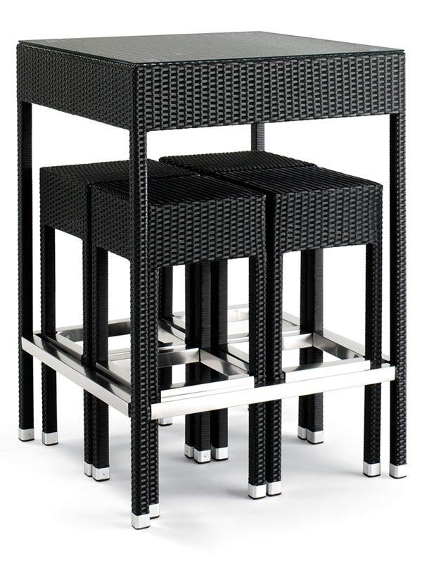 TT920 - Set da giardino con tavolo e 4 sgabelli, in alluminio e ...