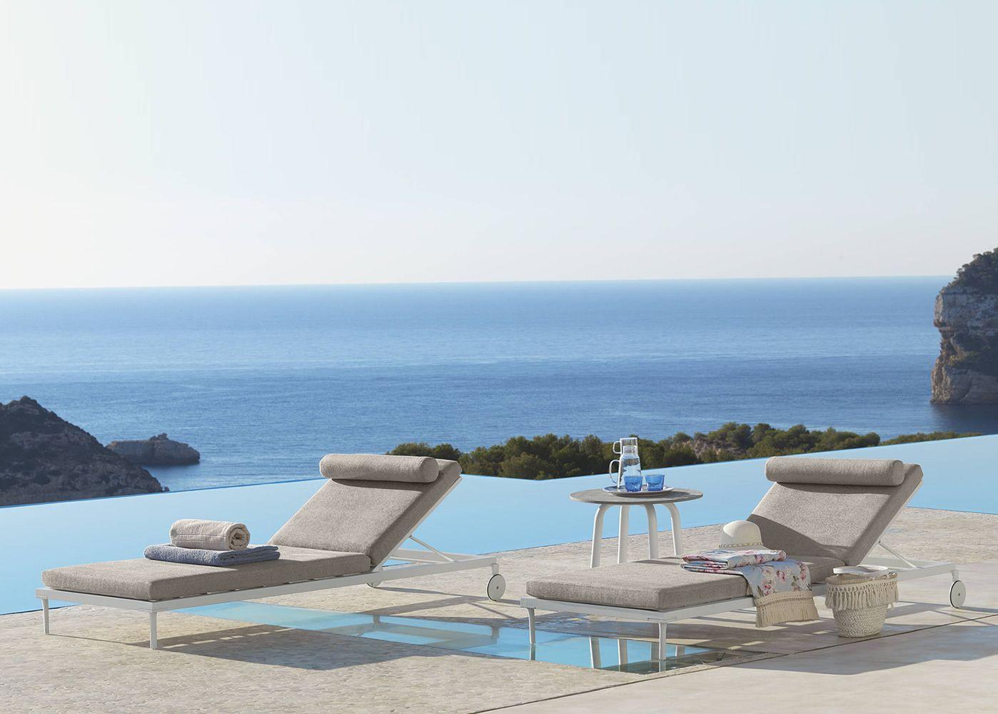 Cleo l 2 lettino design in alluminio con cuscino - Lettino piscina alluminio ...