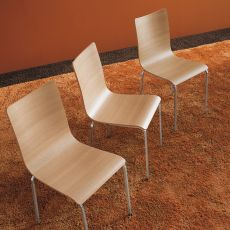 Bibip - Midj stackable metal chair, laminate seat with natural finish