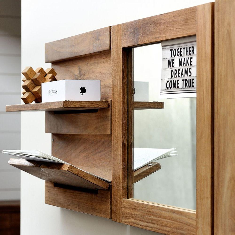Utilitle s pensile da parete ethnicraft in legno con mensole ribaltabili diverse finiture - Parete con mensole ...