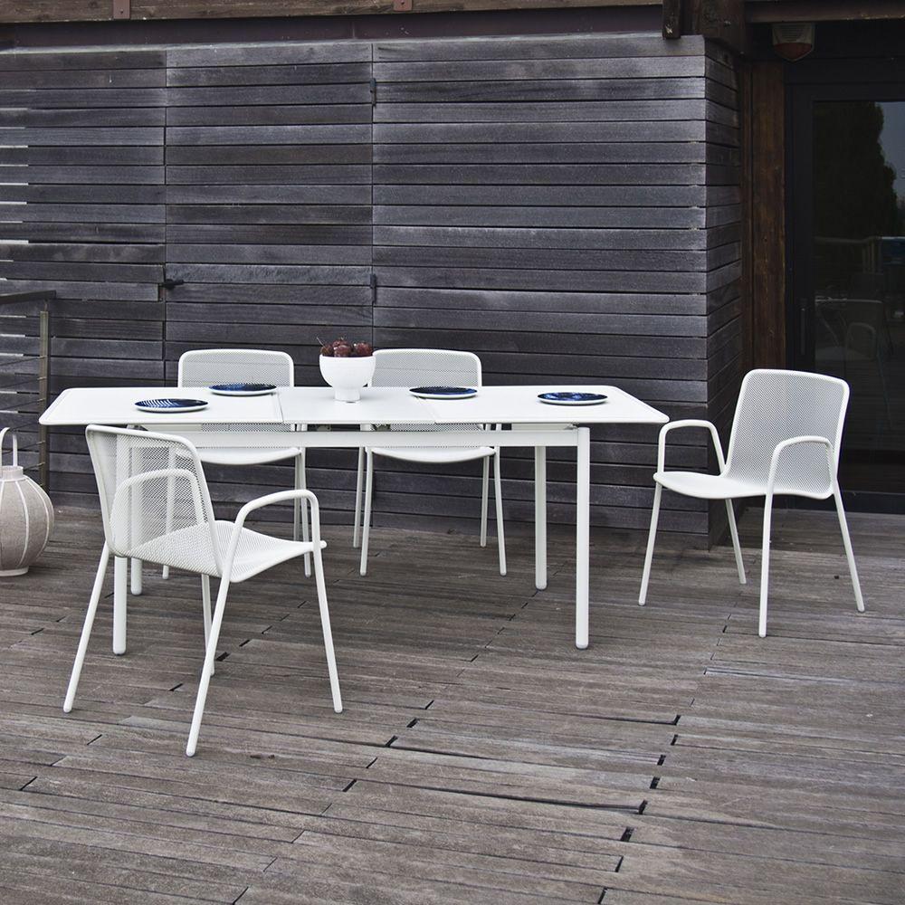 Syd tavolo in metallo con piano 160x90 cm allungabile for Tavolo metallo giardino