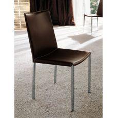 Palma - Sedia Midj in metallo con seduta in rigenerato di cuoio, diversi colori disponibili