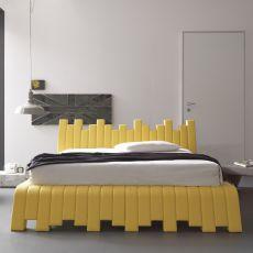 Cu.bed - Letto matrimoniale imbottito, disponibile in diverse misure e rivestimenti