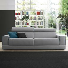 Jack - 2, 2 XL, 3 or 3XL seater sofa, sliding seats and reclining headrest, totally removable covering, different upholsteries and colors available