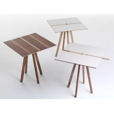 Binario - Tavolo fisso Valsecchi in in legno, diverse finiture disponibili, piano quadrato 70 x 70 cm