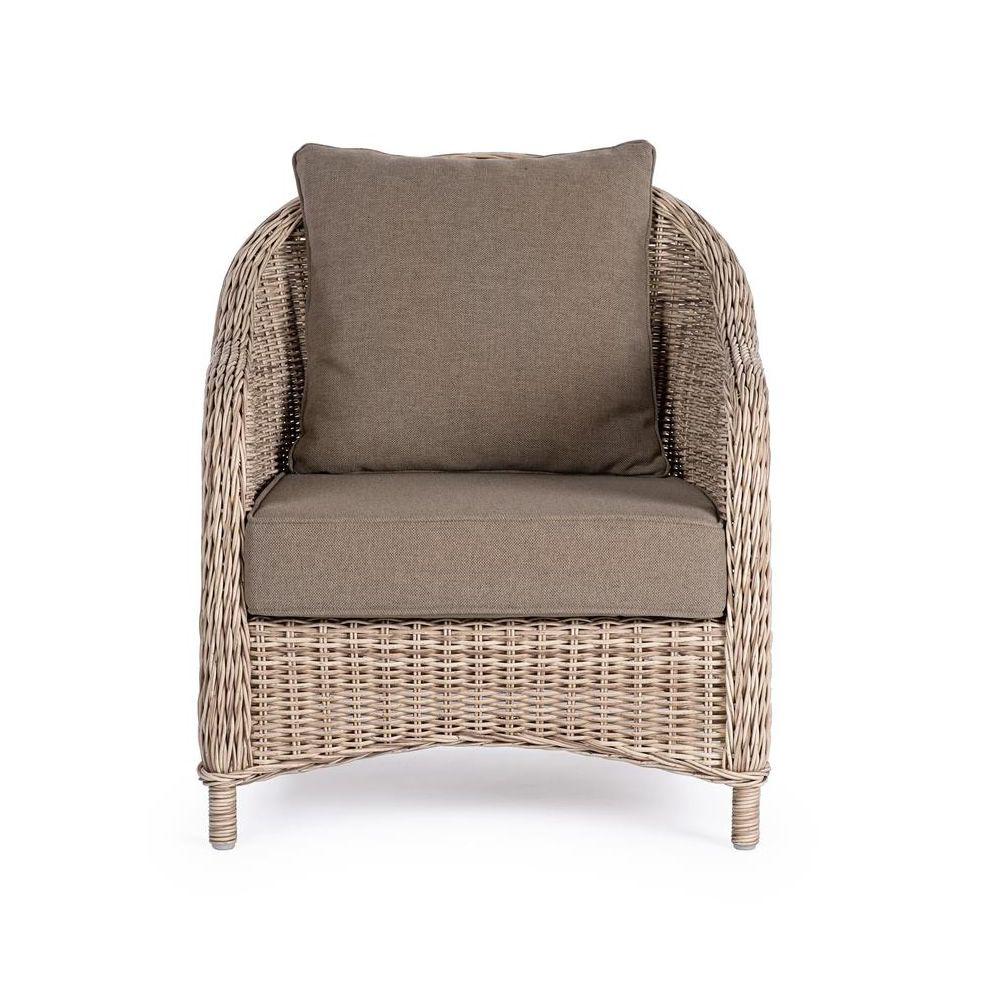 Loira p fauteuil en rotin synth tique avec coussins for Casa fauteuil jardin