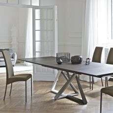 Millennium Ext - Table design de Bontempi Casa, 160(240)x 90 cm à rallonges, comportant un piétement en métal et un plateau en bois, verre ou céramique, disponible en différentes couleurs