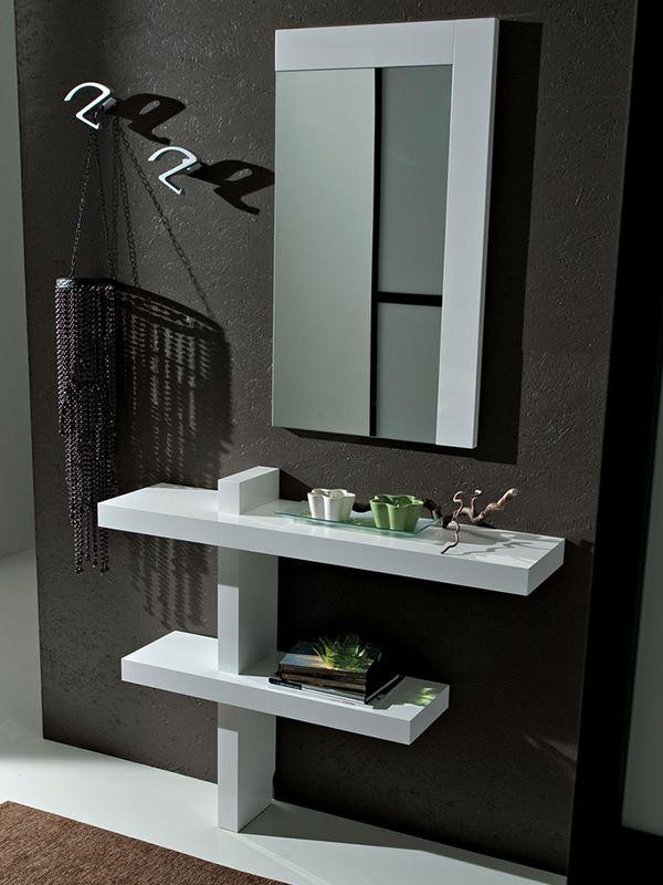 Pa240 mueble de entrado con espejo y percheros - Mueble blanco pared ...