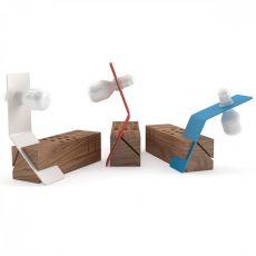 Edi - Lampada da tavolo Valsecchi in metallo con organizer in legno, diversi colori disponibili