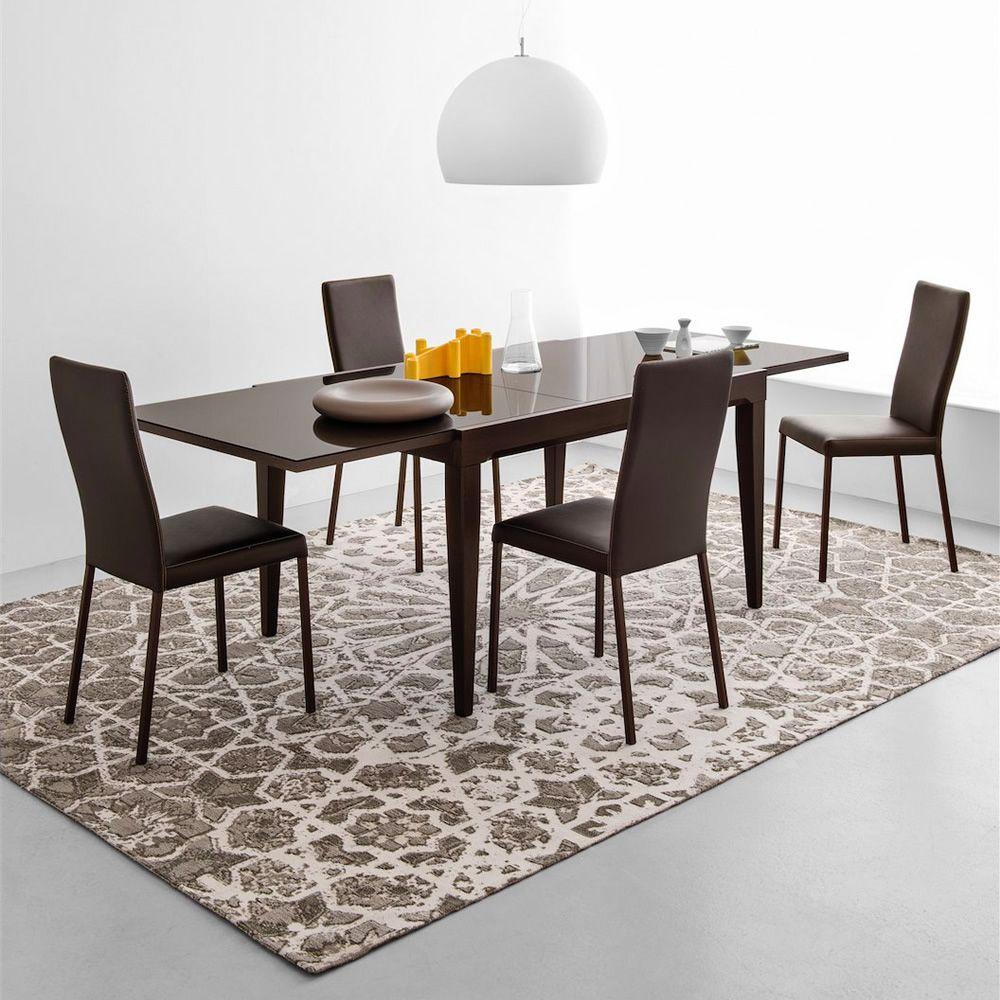 cb4702 v 130 fly table extensible connubia calligaris en bois avec plateau en verre 130 x. Black Bedroom Furniture Sets. Home Design Ideas