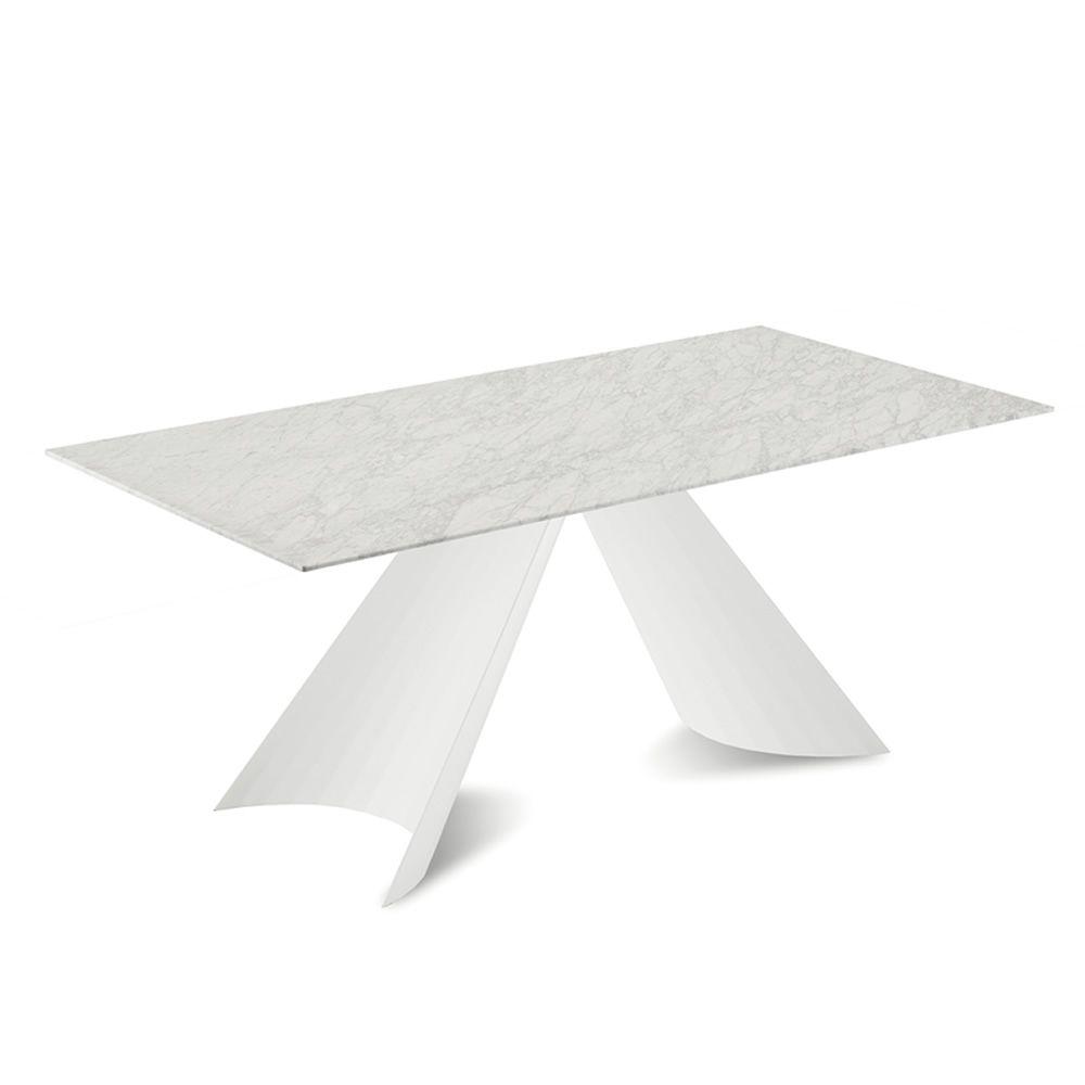 tuile f table fixe domitalia en m tal plateau en bois ou en marbre 200 x 100 cm sediarreda. Black Bedroom Furniture Sets. Home Design Ideas