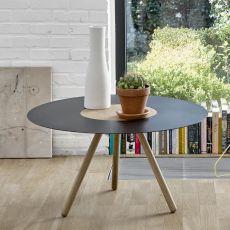 Sputnik - Tavolino rotondo Universo Positivo in legno e metallo
