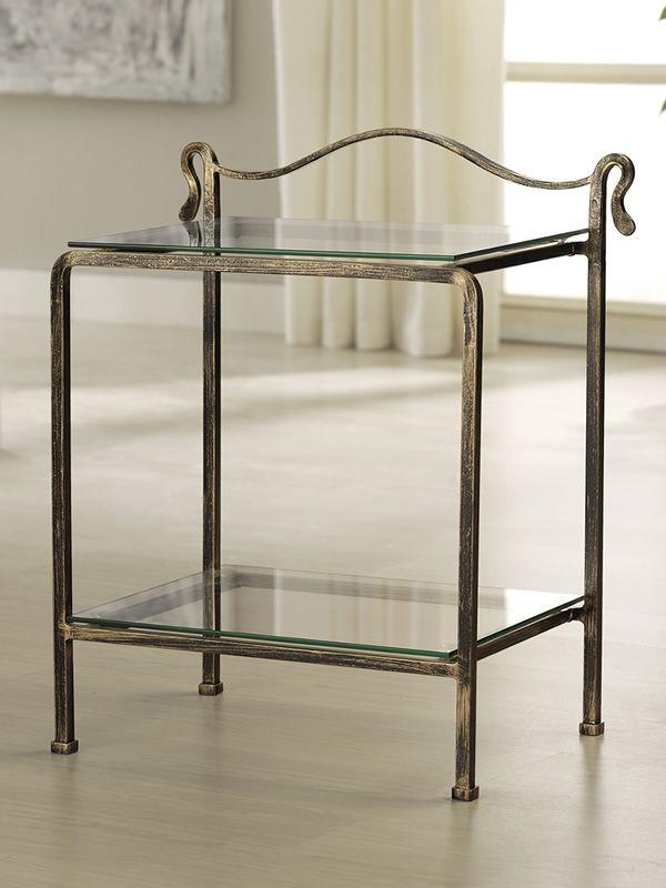 ottocento d table de nuit en fer forg avec tablettes en verre diff rentes couleurs sediarreda. Black Bedroom Furniture Sets. Home Design Ideas