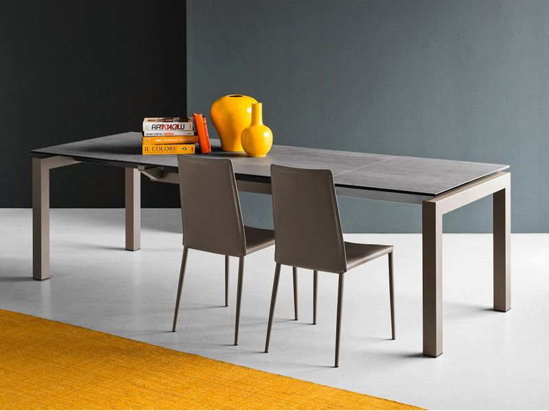 Cb4011 airport table connubia calligaris en m tal plateau en verre ou c ramique 130 x 90 cm - Table ceramique avec rallonge ...