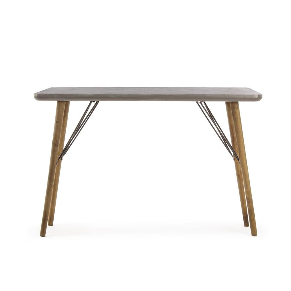 Cairo Consolle Console With Wooden Legs Top In Mdf Concrete Effect